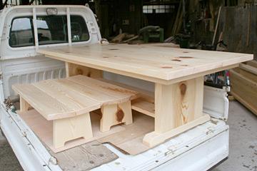 地松テーブルとイス